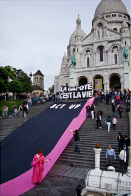 Action d'Act-Up au Sacré-Coeur (Paris)