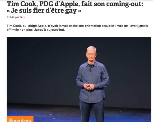 """Tim Cook, PDG d'Apple, fait son coming out en octobre 2014 : """"Je suis fier d'être gay."""" (Eh ben ça se voit...)"""