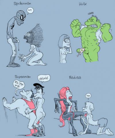 """B.D. What A Wonderful World (2014) de Zep (planche : """"Le Sexualité compliquée des Super-héros"""")"""