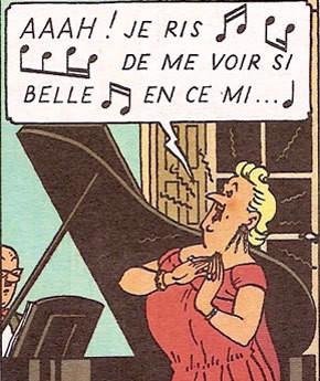 "Bianca Castafiore dans la B.D. ""Les Bijoux de la Castafiore"" d'Hergé"