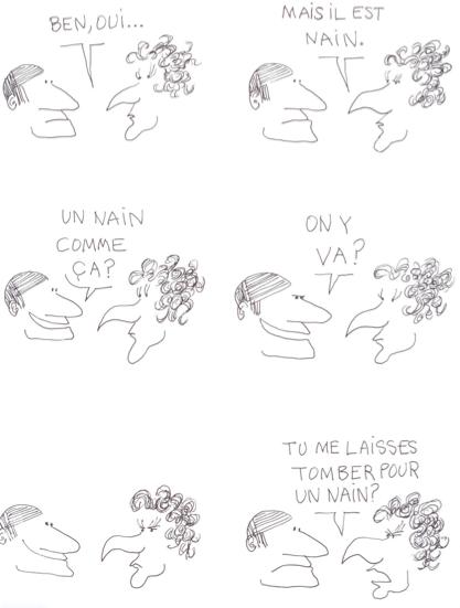 """B.D. """"Le Monde fantastique des Gays"""" de Copi (planche """"Un Nain de rêve"""")"""