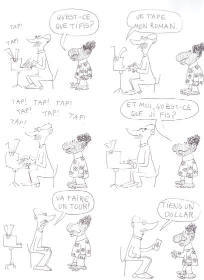 """B.D. """"Le Monde fantastique des gays"""" de Copi (planche """"Le Roman"""")"""