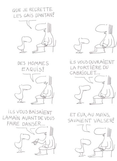 """Planche """"Les Gais d'antan"""" sur la B.D. """"Le Monde fantastique des gays"""" de Copi"""