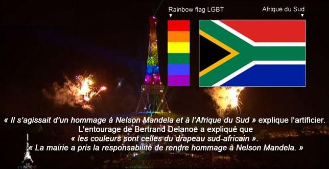 """14 juillet 2013 à Paris (soi-disant clin d'oeil à Desmond Tutu et à sa """"Nation Arc-en-ciel"""")"""