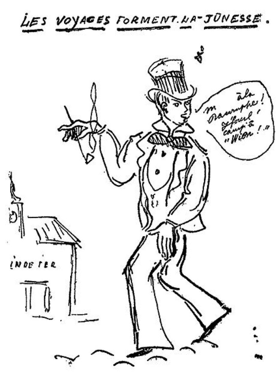 Dessin caricatural de Paul Verlaine
