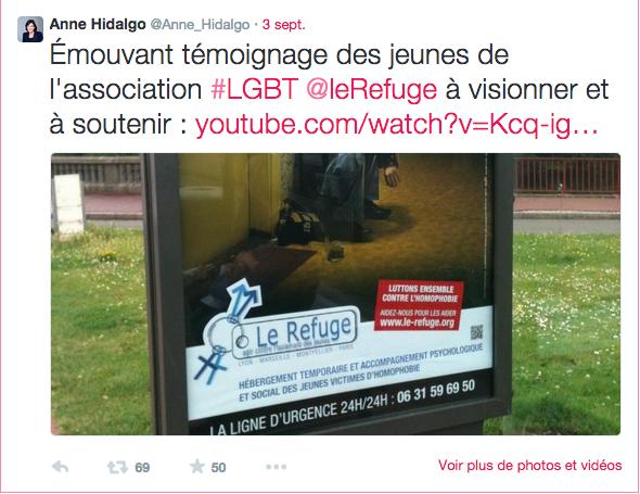 """Tweet d'Anne Hidalgo début septembre 2014 (celle qui avait trouvé les Femen """"touchantes"""")"""