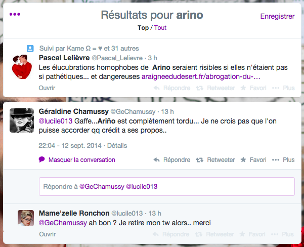 Échange Twitter du 12-13 septembre 2014