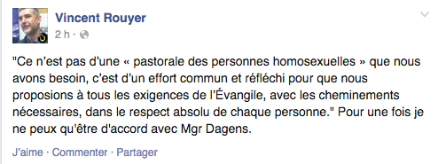 Post de Vincent Rouyer daté du 15 octobre 2014 sur Facebook