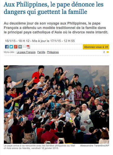 Aux Philippines, le Pape vient parler de la famille... pardon, se fait prendre en photo