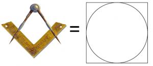 Symboles maçonniques (l'équerre et le compas correspondant au cube et au cercle)