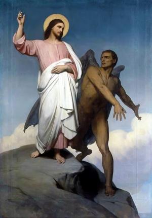 Tableau Tentation du Christ (1854) d'Ary Scheffer (Le 4 contre le W)