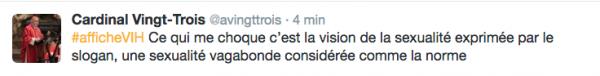 Le Cardinal André Vingt-Trois, sur Twitter, le 25 novembre 2016